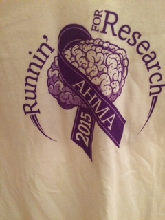Next run I will be wearing my Runnin' for Research AHMA 2015 tshirt