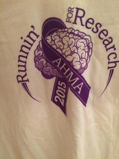 Next run I will be wearing my Runnin' for Research AHMA 2015 tshirt